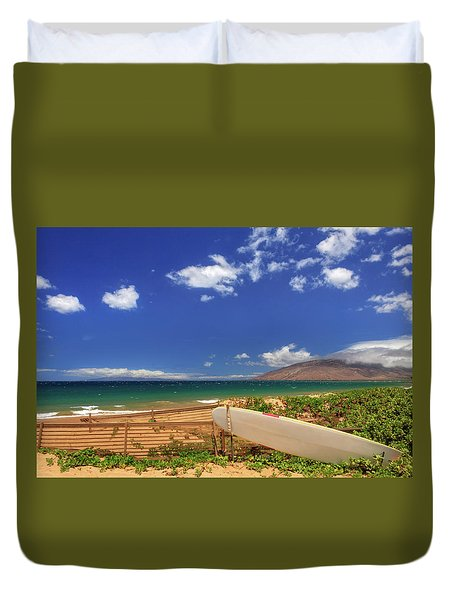 Lonely Surfboard Duvet Cover by James Eddy