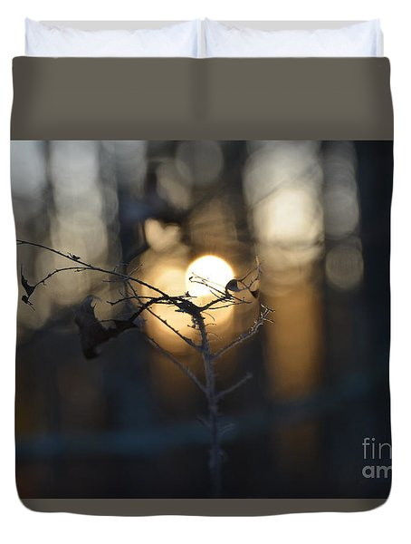 Lonely Tree Branch With Bokeh Love -georgia Duvet Cover