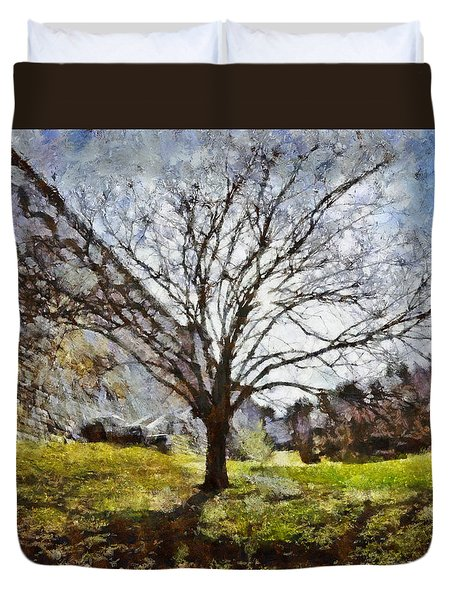 Duvet Cover featuring the painting Lonely Tree by Derek Gedney