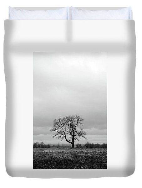 Lonely Tree In A Spring Field Duvet Cover by GoodMood Art