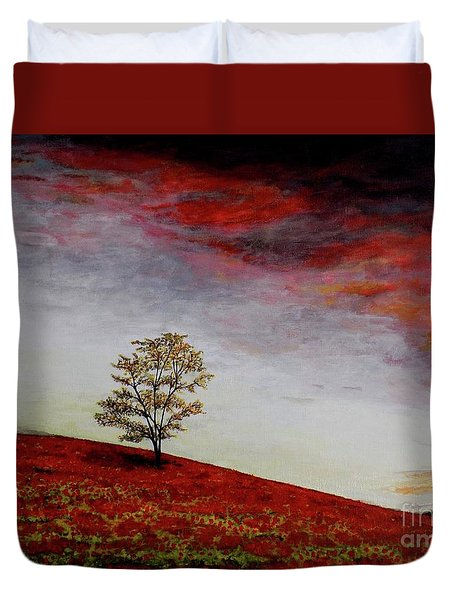 Duvet Cover featuring the painting Lonely Tree by Judy Kirouac