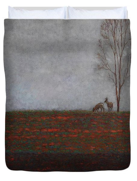 Lonely Tree With Two Roes Duvet Cover