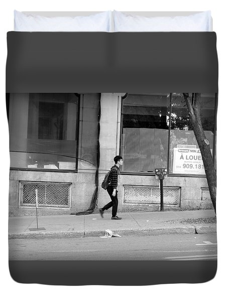 Duvet Cover featuring the photograph Lonely Urban Walk by Valentino Visentini