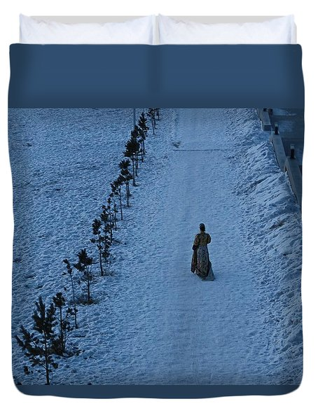 Lonely Walk/tsagaan Sar Duvet Cover