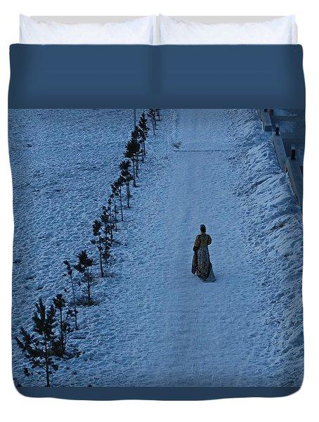 Lonely Walk/tsagaan Sar Duvet Cover by Diane Height