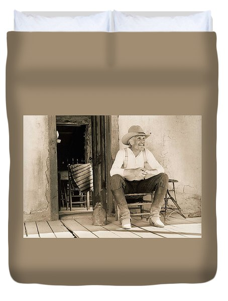 Lonesome Dove Gus On Porch  Duvet Cover