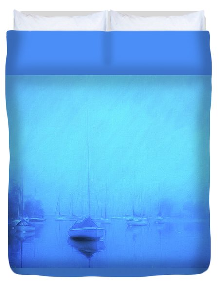 Duvet Cover featuring the photograph Lonesome Harbor by Joel Witmeyer