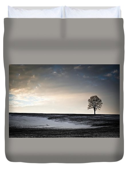 Duvet Cover featuring the photograph Lonesome Tree On A Hill IIi by David Sutton