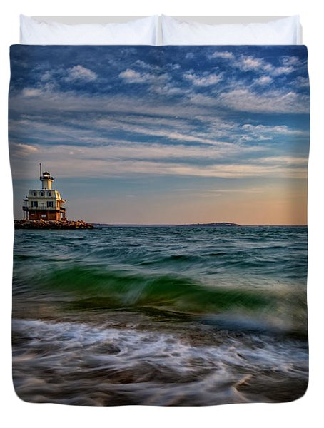 Long Beach Bar Lighthouse Duvet Cover