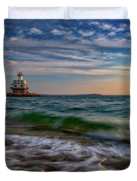 Long Beach Bar Lighthouse Duvet Cover by Rick Berk