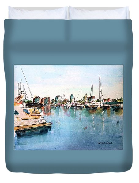Long Beach Coastal View Duvet Cover