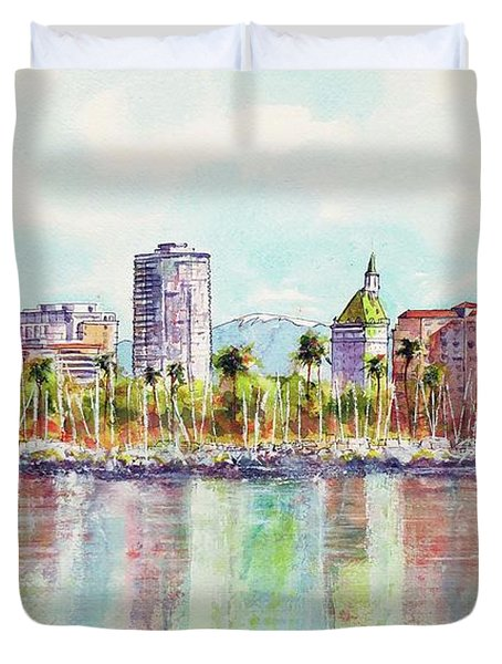 Long Beach Coastline Reflections Duvet Cover