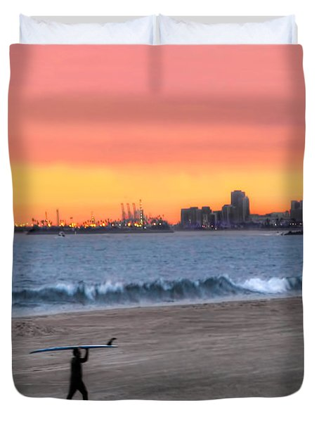 Long Beach From Huntington Beac Duvet Cover