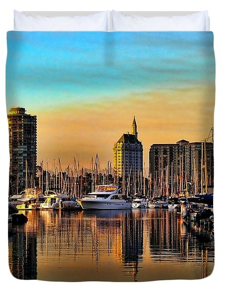 Duvet Cover featuring the photograph Long Beach Harbor by Mariola Bitner