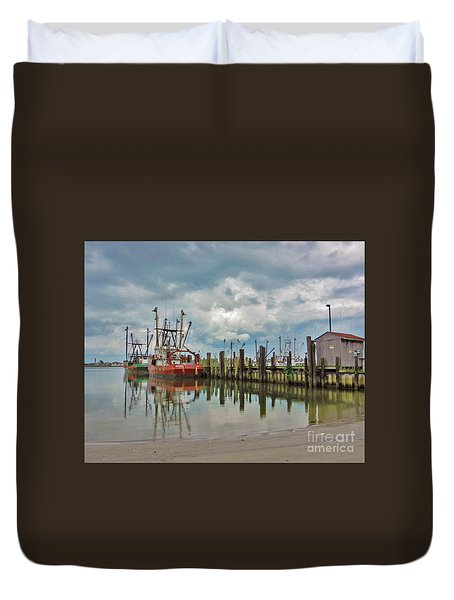 Long Beach Island Docks Duvet Cover