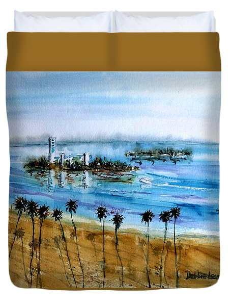 Long Beach Oil Islands Before Sunset Duvet Cover