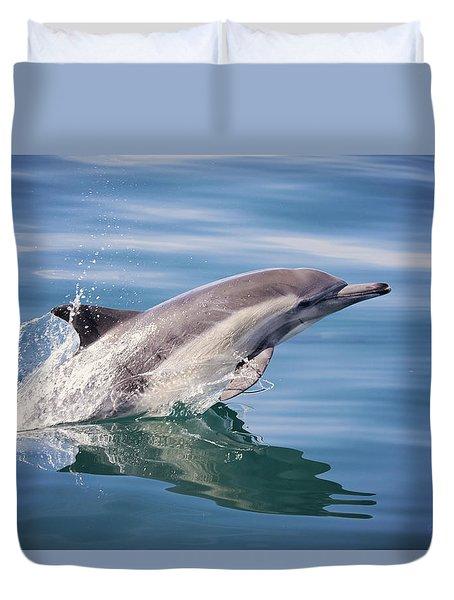 Long Beaked Common Dolphin Duvet Cover