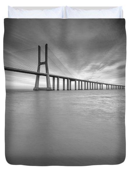 Long Bridge Portugal Bw Duvet Cover