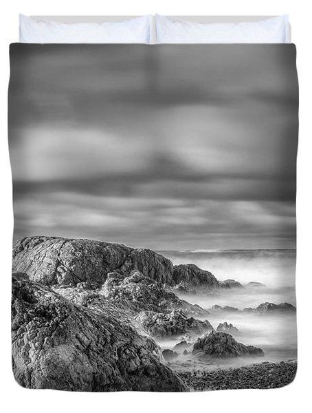 Long Exposure Of A Shingle Beach And Rocks Duvet Cover