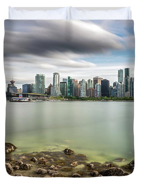 Long Exposure Of Vancouver City Duvet Cover