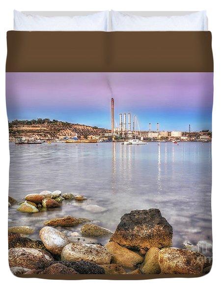 Long Exposure Sunset In Marsaxlokk Duvet Cover by Stephan Grixti