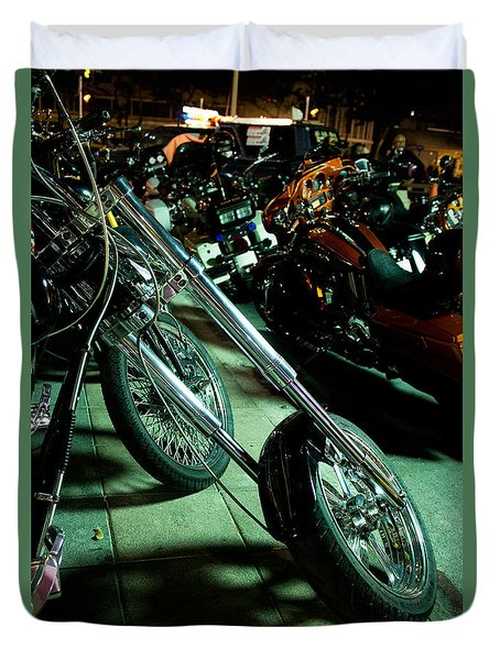 Duvet Cover featuring the photograph Long Front Fork And Wheel Of Chopper Bike At Night by Jason Rosette