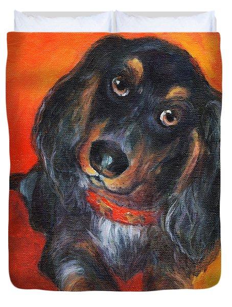 Long Haired Dachshund Dog Puppy Portrait Painting Duvet Cover by Svetlana Novikova