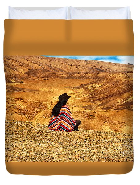 Long Haired Man In Poncho Duvet Cover
