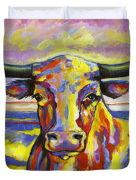 Long Horn At Sunset Duvet Cover