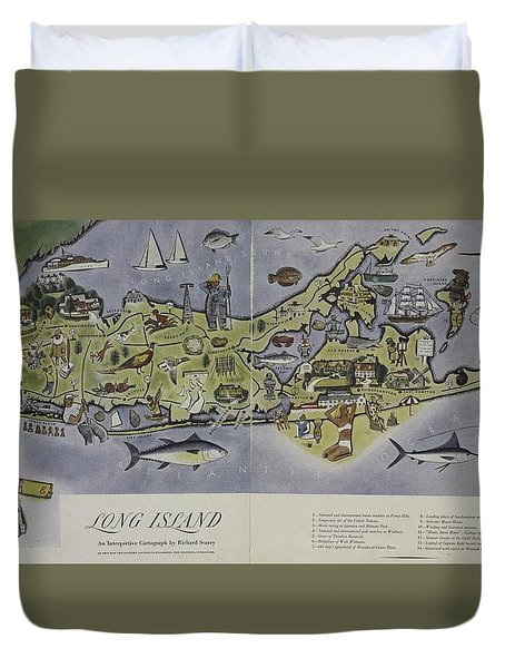 Duvet Cover featuring the photograph Long Island An Interpretive Cartograph by Duncan Pearson