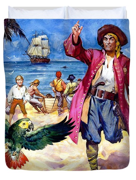 Long John Silver And His Parrot Duvet Cover by James McConnell