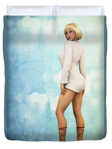 Duvet Cover featuring the digital art Long Legs by Jutta Maria Pusl