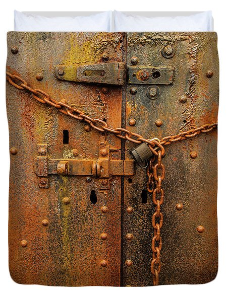 Duvet Cover featuring the photograph Long Locked Iron Door by Jim Adams