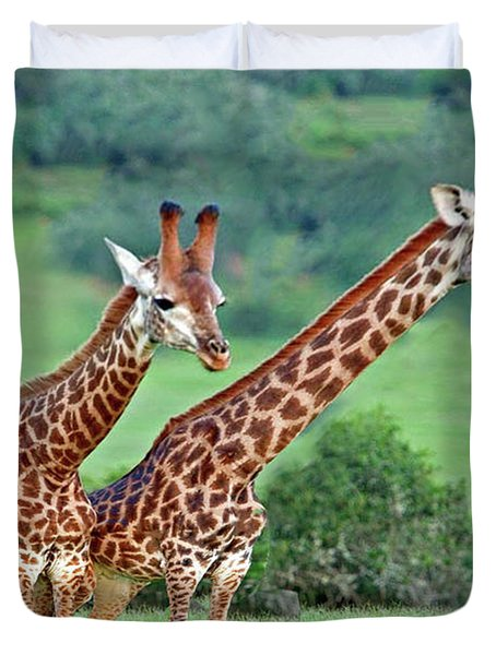 Long Necks Together Duvet Cover by Bruce Iorio