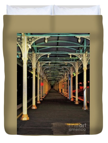 Duvet Cover featuring the photograph Long Platform Albury Station By Kaye Menner by Kaye Menner