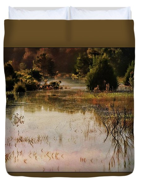 Long Pond Misty Morning Duvet Cover