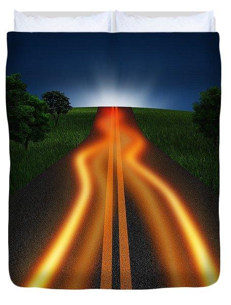 Long Road In Twilight Duvet Cover by Setsiri Silapasuwanchai