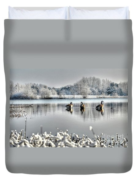 Geese At Long Run Pond Duvet Cover