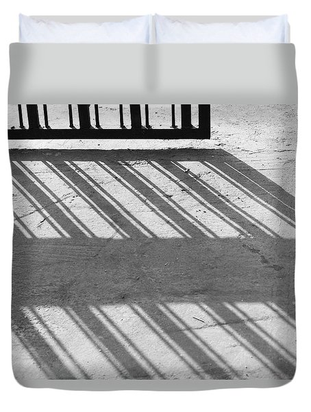Duvet Cover featuring the photograph Long Shadow Of Metal Gate by Prakash Ghai