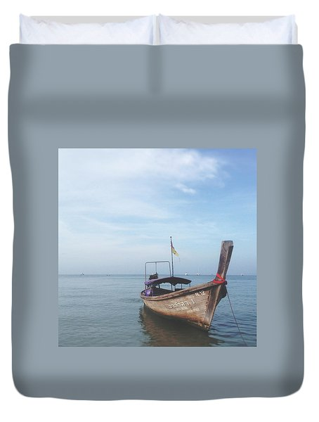 Duvet Cover featuring the photograph Long Tail Boat Stillness by Ivy Ho