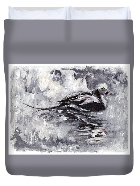 Long-tailed Duck Duvet Cover