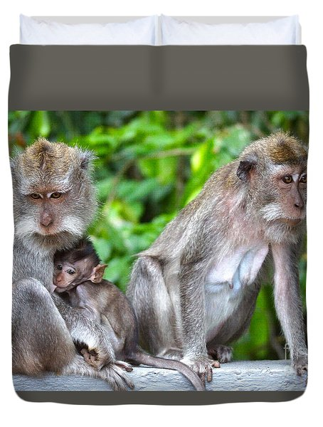 Long Tailed Macaques Duvet Cover by Cassandra Buckley