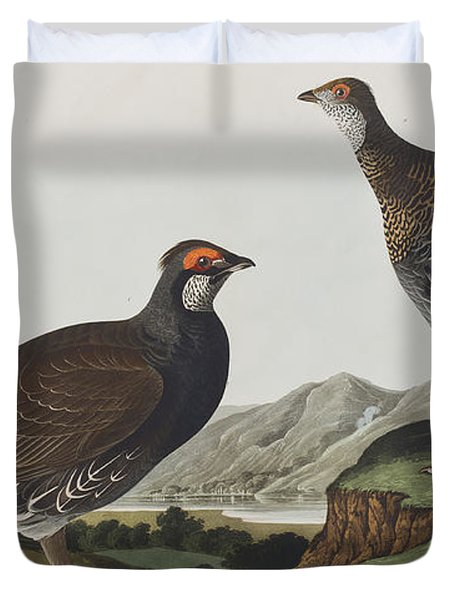 Long-tailed Or Dusky Grous Duvet Cover by John James Audubon