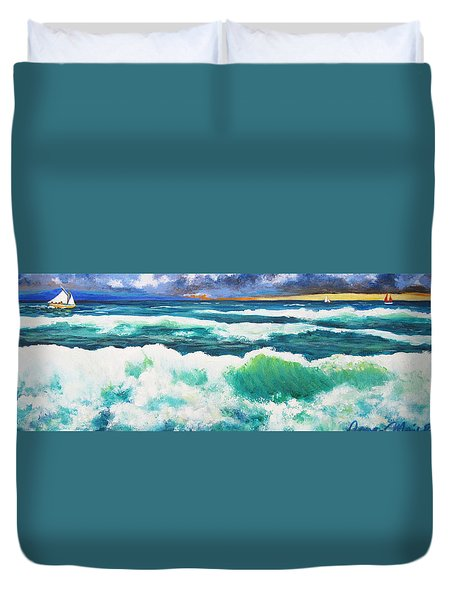 Long Thin Wave Duvet Cover by Anne Marie Brown