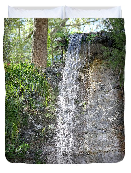 Duvet Cover featuring the photograph Long Waterfall Drop by Raphael Lopez