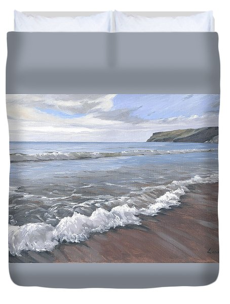 Duvet Cover featuring the painting Long Waves At Trebarwith by Lawrence Dyer