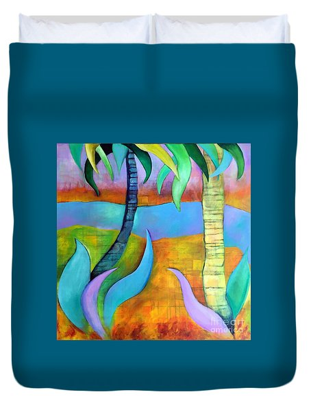 Duvet Cover featuring the painting Longboat Key by Elizabeth Fontaine-Barr