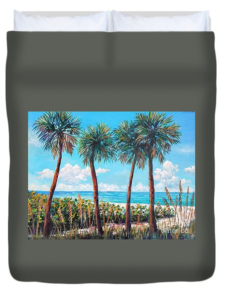 Longboat Key Palms Duvet Cover