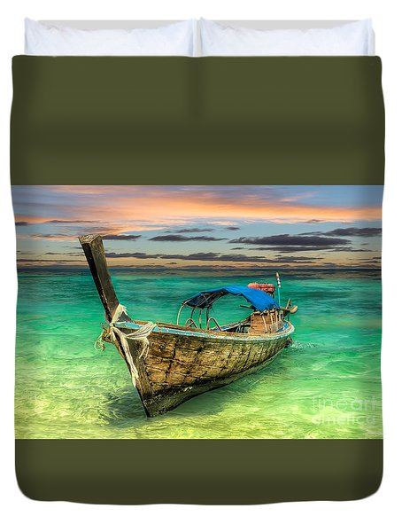 Longboat Sunset Duvet Cover