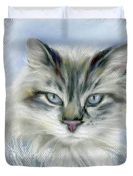 Longhaired Cat With Blue Eyes Duvet Cover